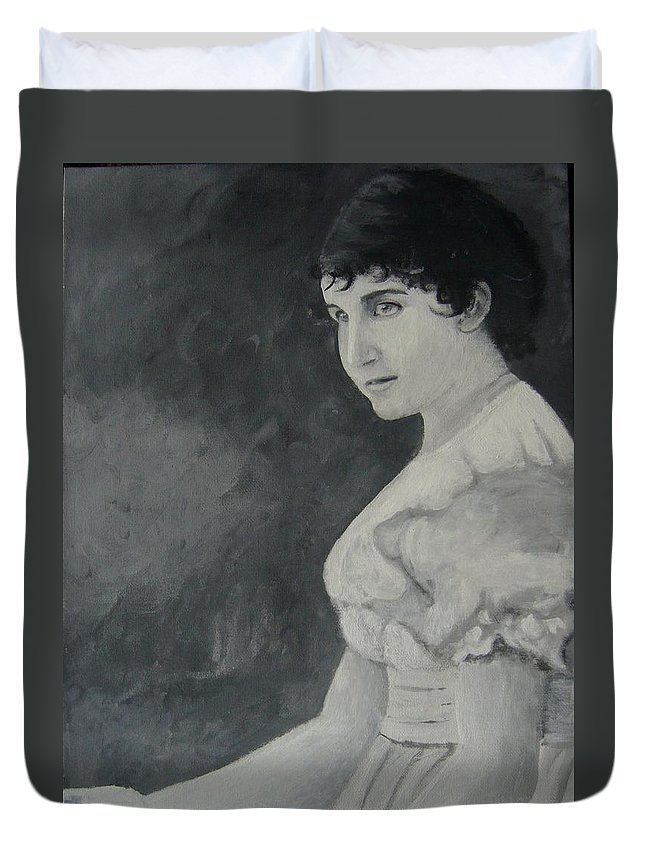 Portrait Duvet Cover featuring the painting Mara by Joanna Aud