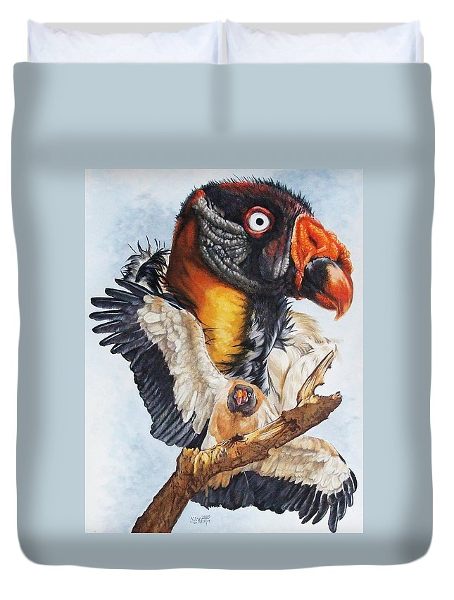 Vulture Duvet Cover featuring the mixed media Marauder by Barbara Keith