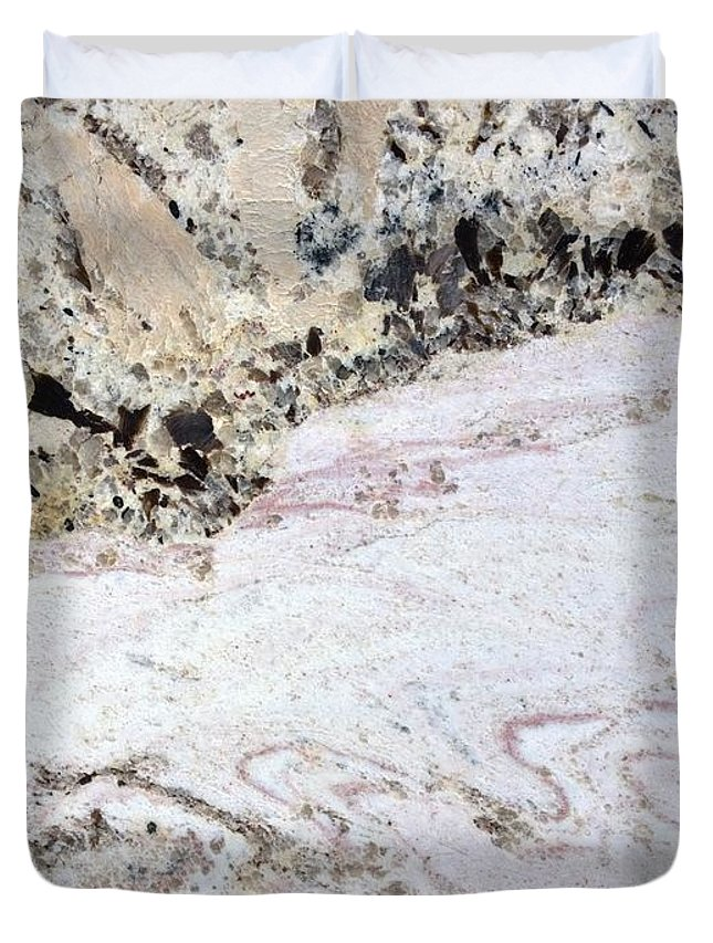 Marble Duvet Cover featuring the photograph Marble Black Tan Pink by Delynn Addams
