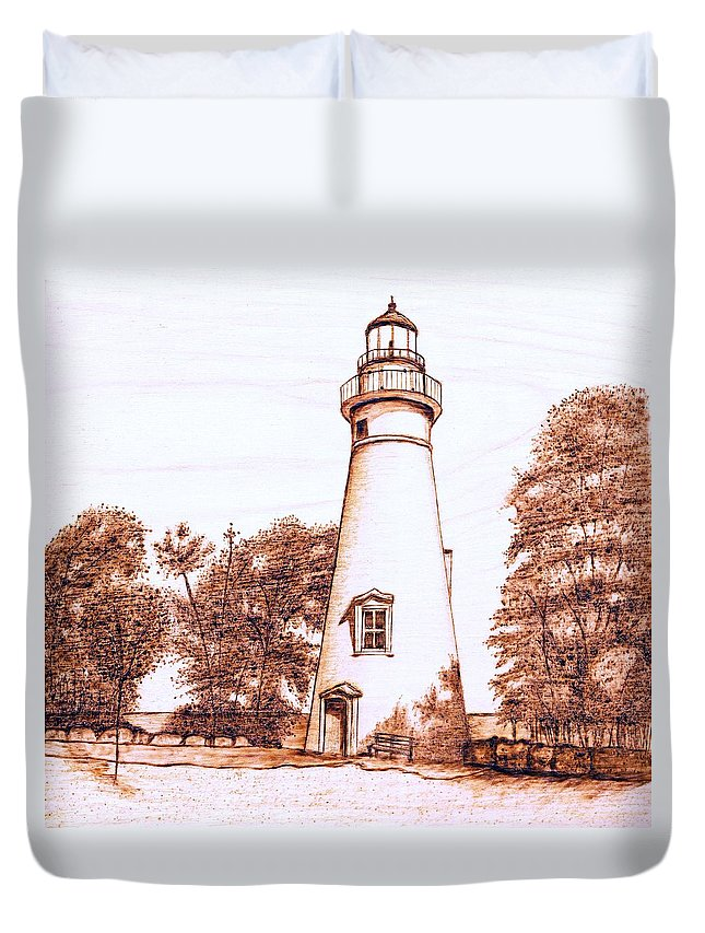 Lighthouse Duvet Cover featuring the pyrography Marblehead Lighthouse by Danette Smith