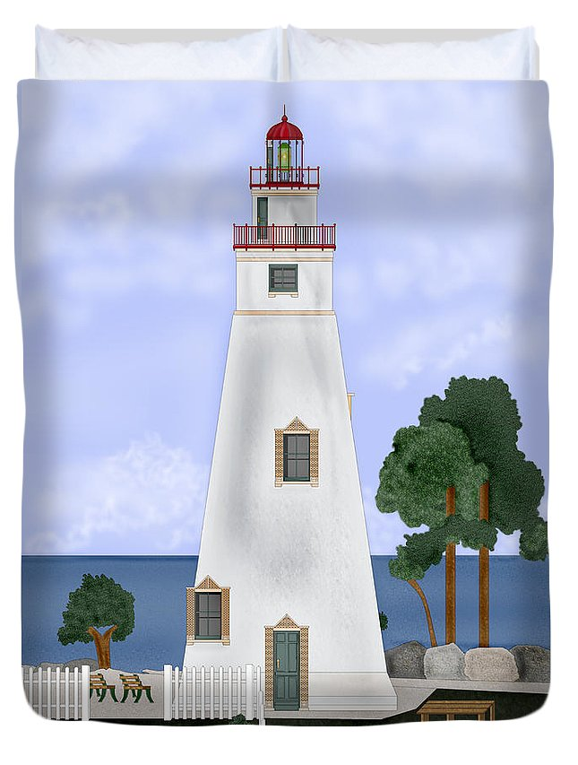 Marblehead Ohio Lighthouse Duvet Cover featuring the painting Marblehead Ohio by Anne Norskog