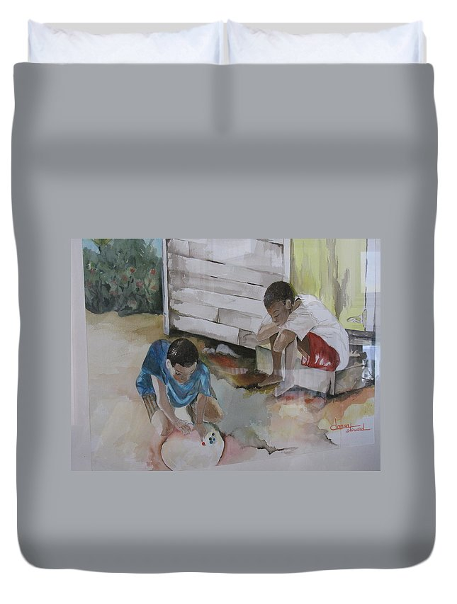 Bahamas Duvet Cover featuring the painting Marbles by Donna Steward