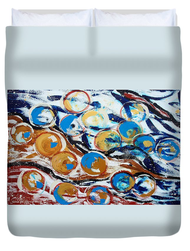 Marbles Duvet Cover featuring the painting Marbles Of Life by Gina De Gorna