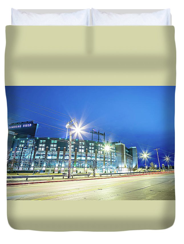 Green Duvet Cover featuring the photograph March 2017 Green Bay Wisconsin - Lambeau Field - Green Bay Packe by Alex Grichenko