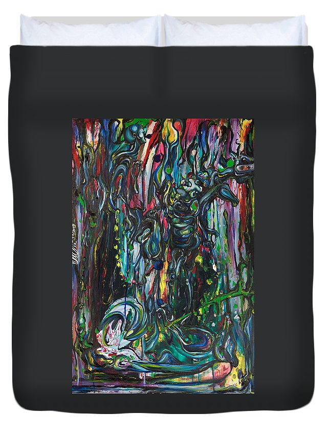 Surreal Duvet Cover featuring the painting March Into The Sea by Sheridan Furrer