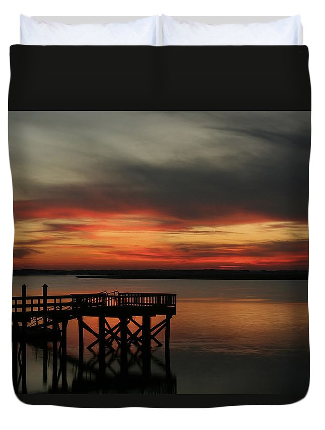 Sunset Duvet Cover featuring the photograph March Sunset by Phill Doherty