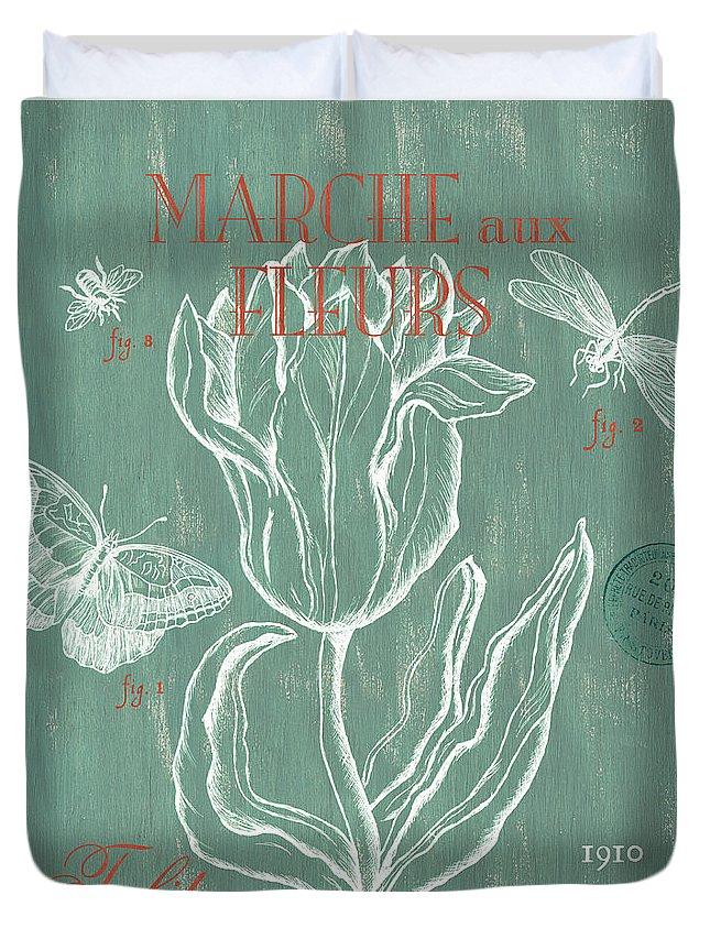 Floral Duvet Cover featuring the painting Marche aux Fleurs by Debbie DeWitt