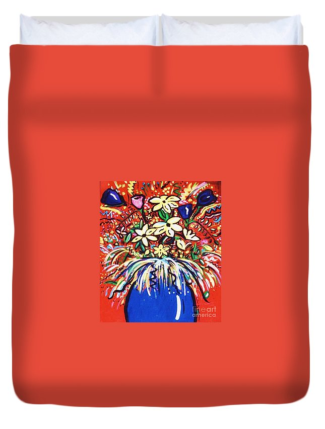 Floral Duvet Cover featuring the painting Mardi Gras Floral Explosion by Sidra Myers