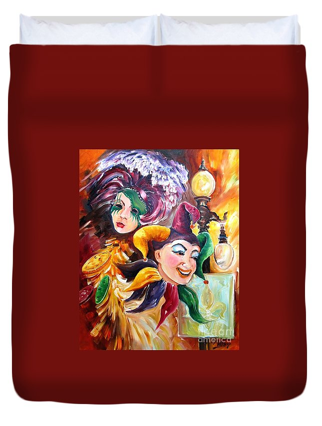 New Orleans Duvet Cover featuring the painting Mardi Gras Images by Diane Millsap