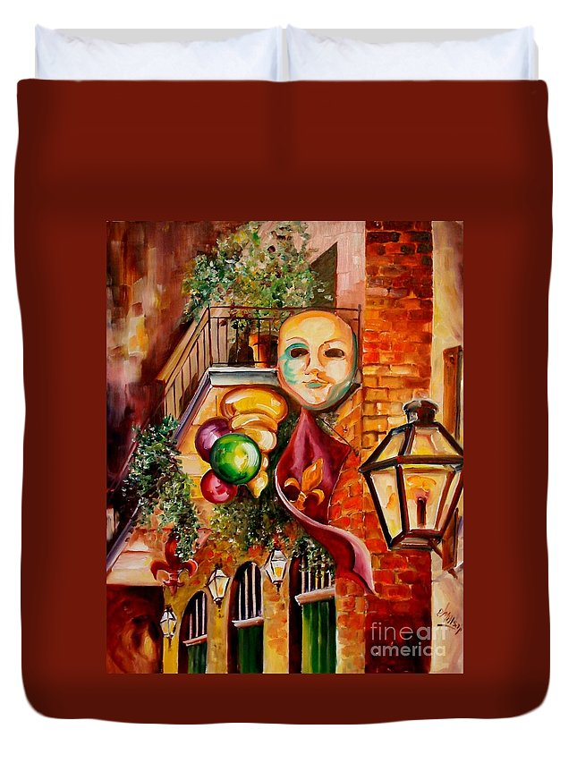 New Orleans Duvet Cover featuring the painting Mardi Gras Night by Diane Millsap