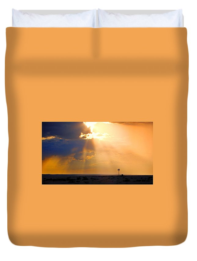 Skip Hunt Duvet Cover featuring the photograph Marfa Windmill 1 by Skip Hunt