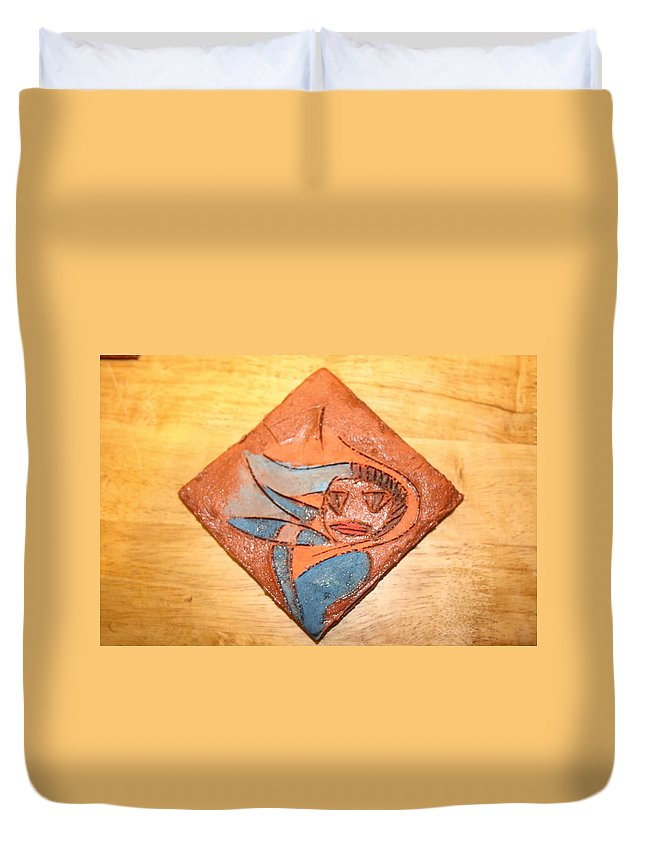 Jesus Duvet Cover featuring the ceramic art Marg - Tile by Gloria Ssali