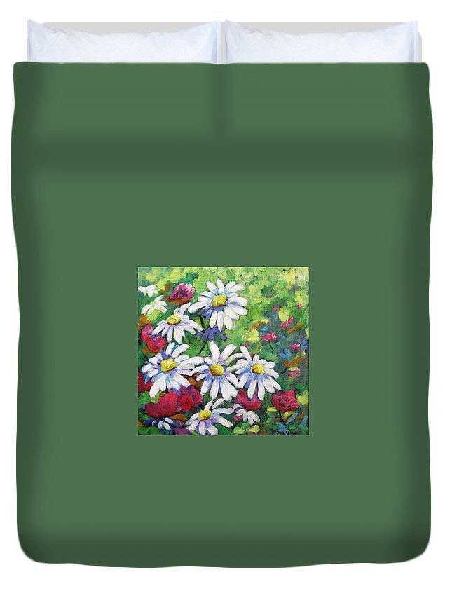 Fleurs Duvet Cover featuring the painting Marguerites 001 by Richard T Pranke