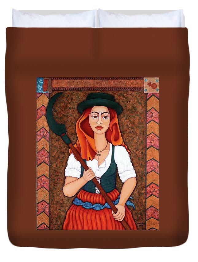 Maria Da Fonte Duvet Cover featuring the painting Maria Da Fonte - The Revolt Of Women by Madalena Lobao-Tello