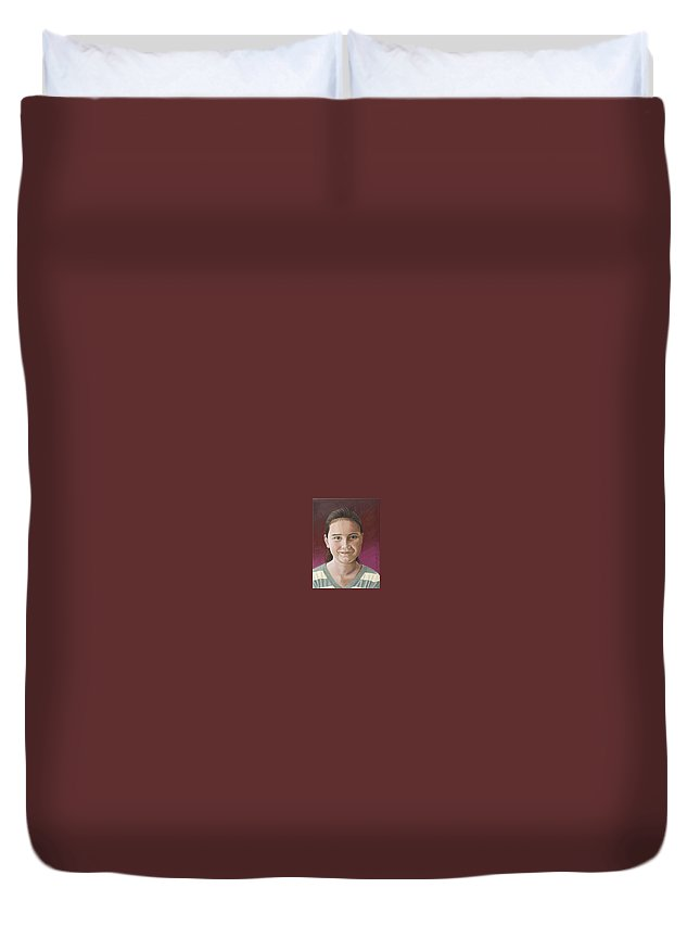 Portrait Duvet Cover featuring the painting Maria by Rob De Vries