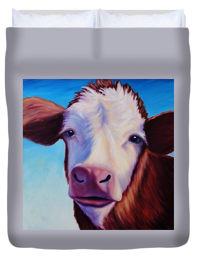 Cow Duvet Cover featuring the painting Marie by Shannon Grissom
