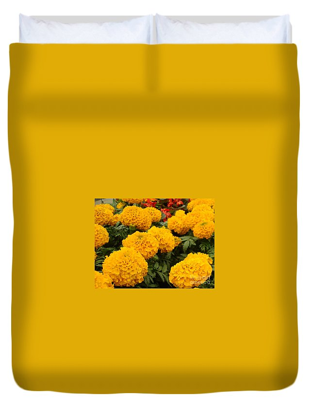 Flower Duvet Cover featuring the photograph Marigold Party by Kathy Bucari