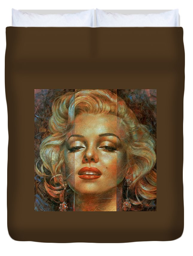 Marilyn Monroe Duvet Cover featuring the painting Marilyn Monroe by Arthur Braginsky