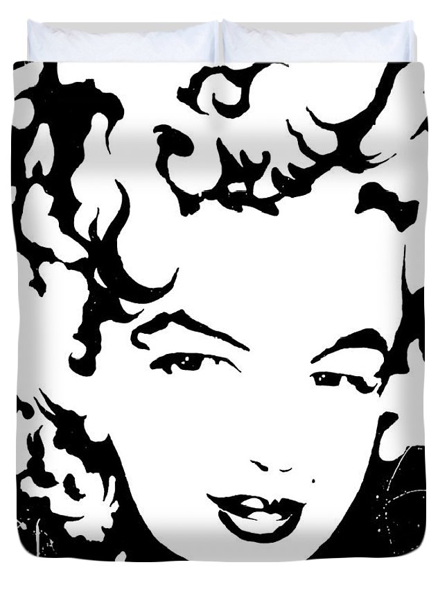 Portrait Duvet Cover featuring the painting Marilyn Monroe by Curtiss Shaffer