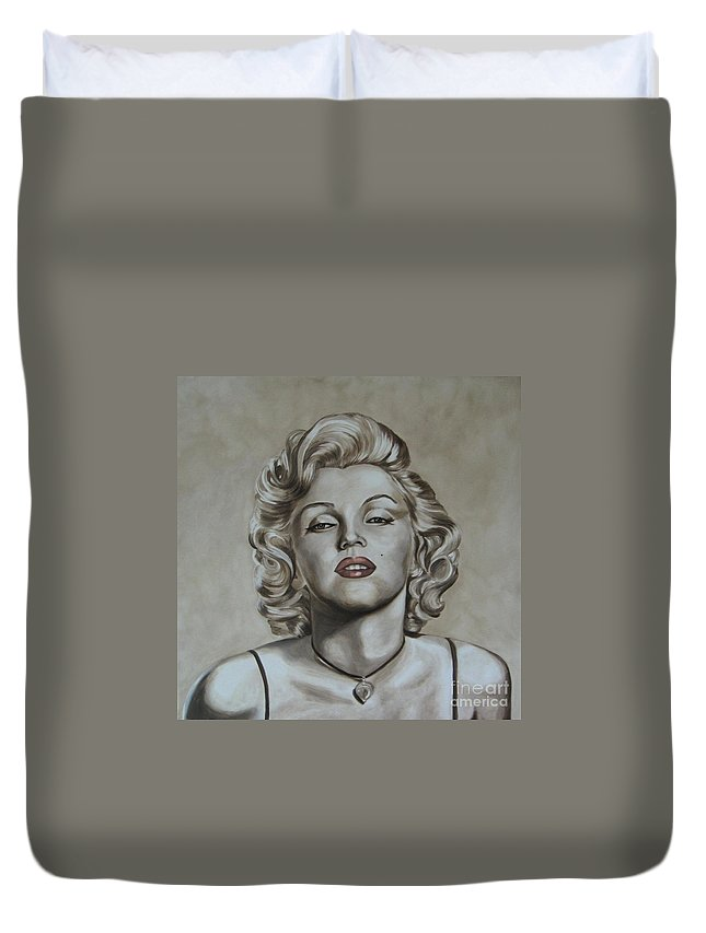 Oil Duvet Cover featuring the painting Marilyn Monroe by Jindra Noewi