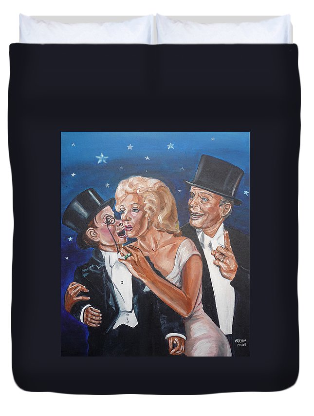 Old Time Radio Duvet Cover featuring the painting Marilyn Monroe Marries Charlie Mccarthy by Bryan Bustard