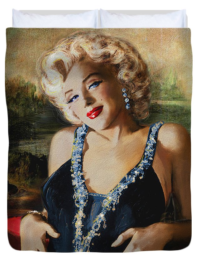 Marilyn Duvet Cover featuring the painting Marilyn Monroe Mona Lisa by Theo Danella