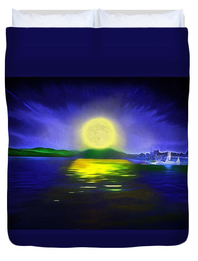 Couer D' Alene; Idaho; Lakes; Water; Night; Nighttime; Moonlight; Moonlit; Full Moon Duvet Cover featuring the photograph Marina Moonrise by Steve Ohlsen
