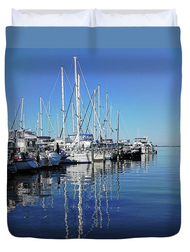 Marina Duvet Cover featuring the photograph Marina On A Calm Day by Francesa Miller