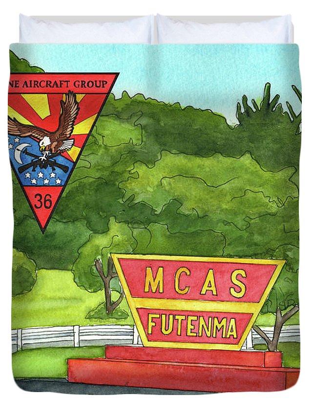 Marine Aircraft Group Duvet Cover featuring the painting Marine Aircraft Group At Mcas Futenma by Betsy Hackett
