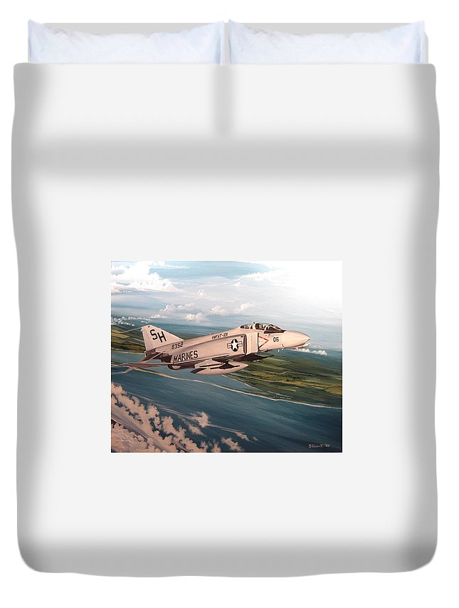 Aviation Duvet Cover featuring the painting Marine Phantom by Marc Stewart