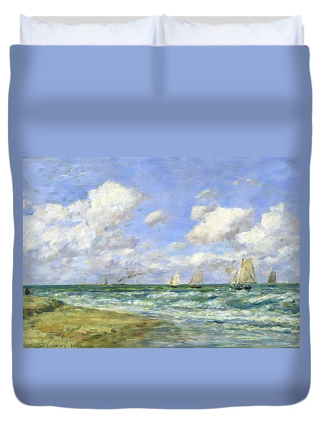 Marine Duvet Cover featuring the painting Marine Scene by Eugene Louis Boudin