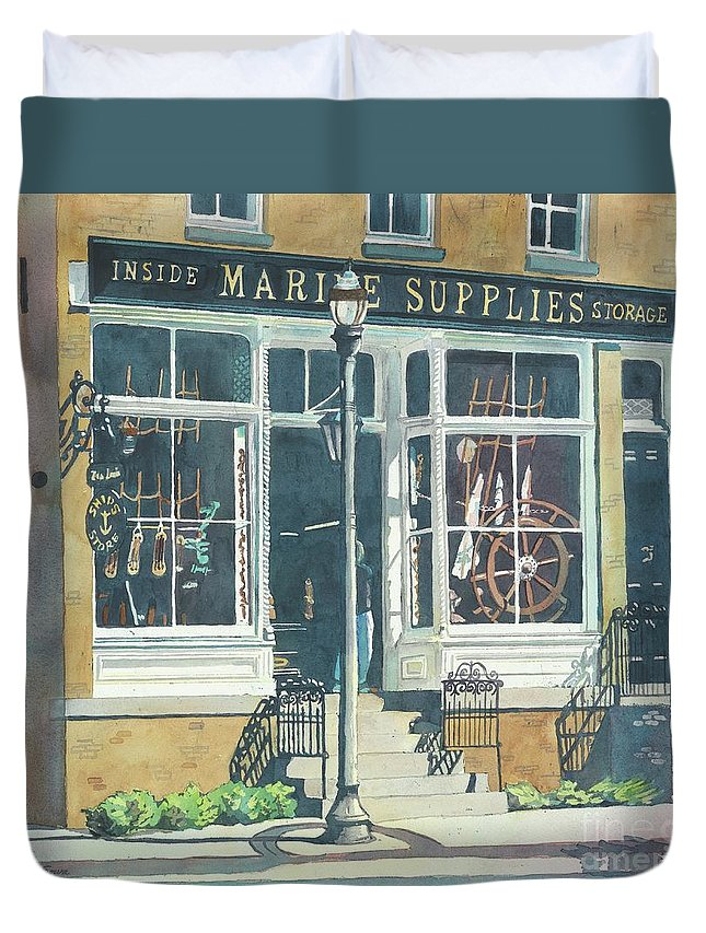 Storefronts Duvet Cover featuring the painting Marine Supply Store by LeAnne Sowa
