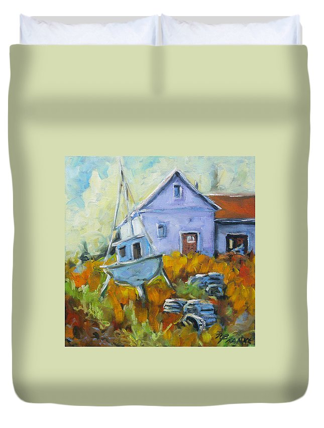 Water Duvet Cover featuring the painting Maritime Scene by Richard T Pranke