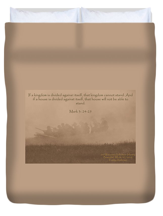 Scripture Duvet Cover featuring the photograph Mark 3 24-25 by Tommy Anderson