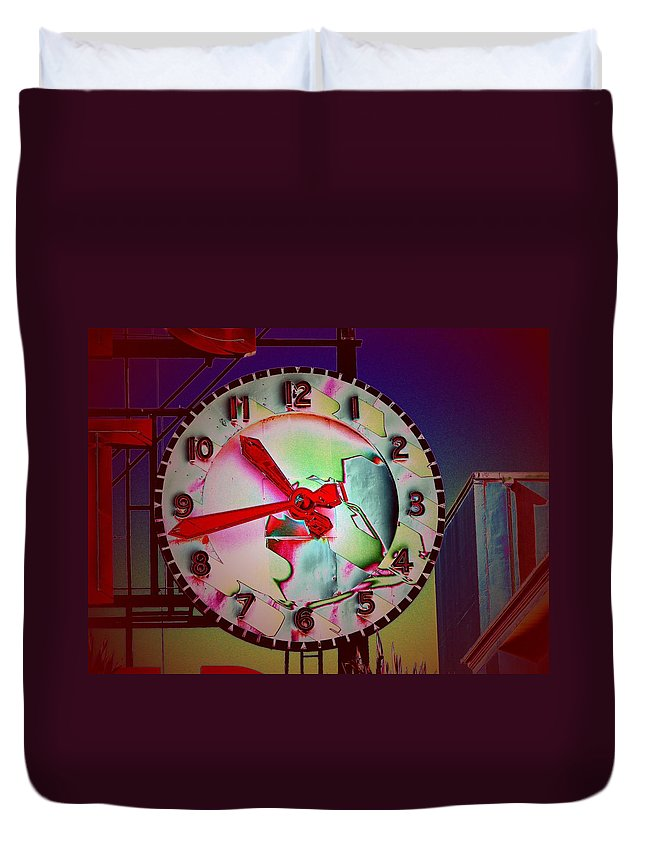 Seattle Duvet Cover featuring the digital art Market Clock 3 by Tim Allen