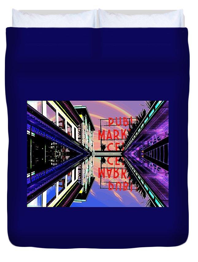 Seattle Duvet Cover featuring the digital art Market Entrance by Tim Allen