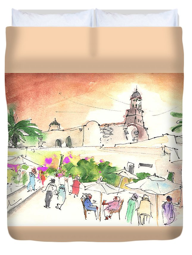 Travel Duvet Cover featuring the painting Market In Teguise In Lanzarote 02 by Miki De Goodaboom