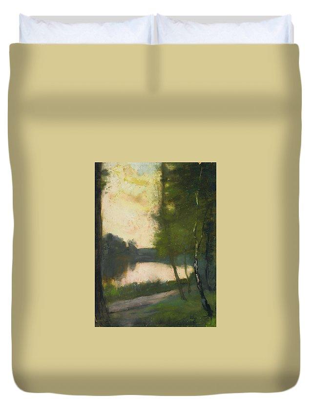 Lesser Ury 1861 - 1931 MÄrkischer See Am Abend (mÄrkisch Lake In The Evening) Duvet Cover featuring the painting Markischer See Am Abend by MotionAge Designs