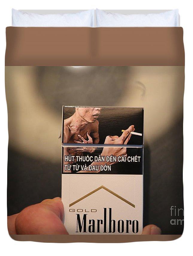 Vietnam Duvet Cover featuring the photograph Marlboro Cigarettes Pkg Vietnam by Chuck Kuhn