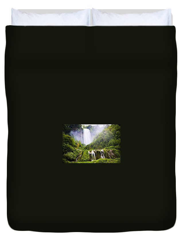 Italy Duvet Cover featuring the photograph Marmore Waterfalls Italy by Marilyn Hunt