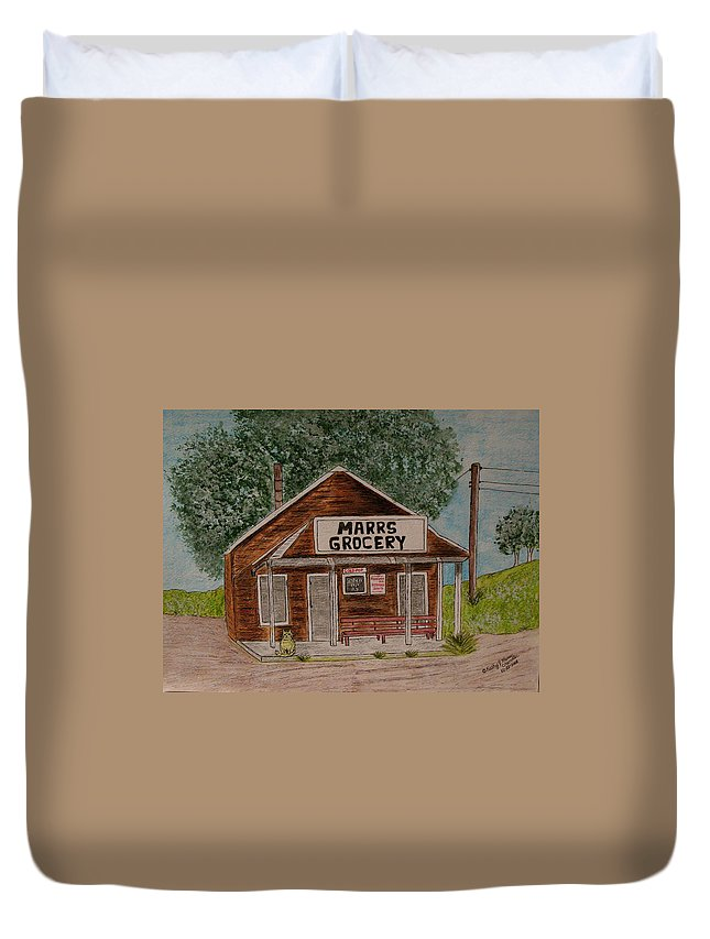 Marrs Duvet Cover featuring the painting Marrs Country Grocery Store by Kathy Marrs Chandler