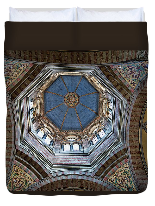 Marseille Cathedral St Mary Major Dome And Cupola Duvet Cover featuring the photograph Marseille Cathedral St Mary Major Dome And Cupola by Curt Rush