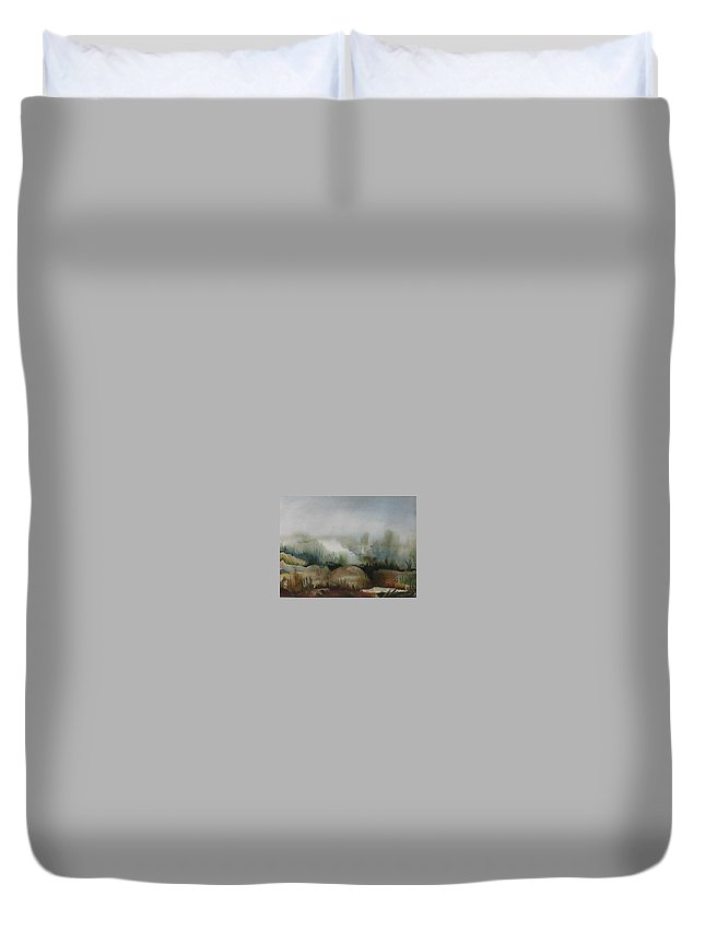 Marsh Duvet Cover featuring the painting Marsh by Anna Duyunova