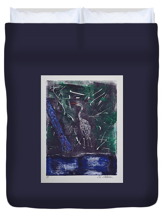 Monotype Duvet Cover featuring the mixed media Marsh Magic by Cori Solomon