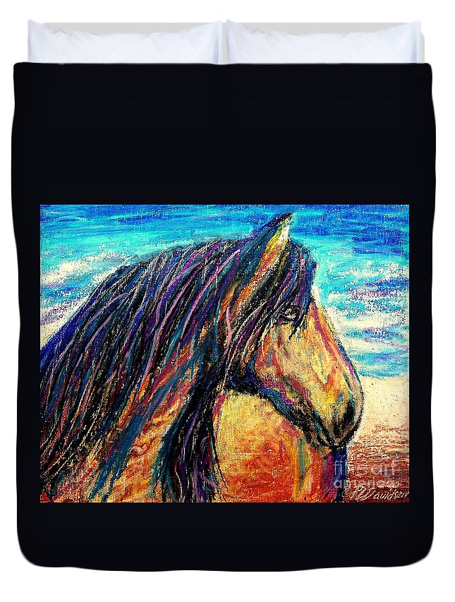 Marsh Tacky Duvet Cover featuring the painting Marsh Tacky Wild Horse by Patricia L Davidson