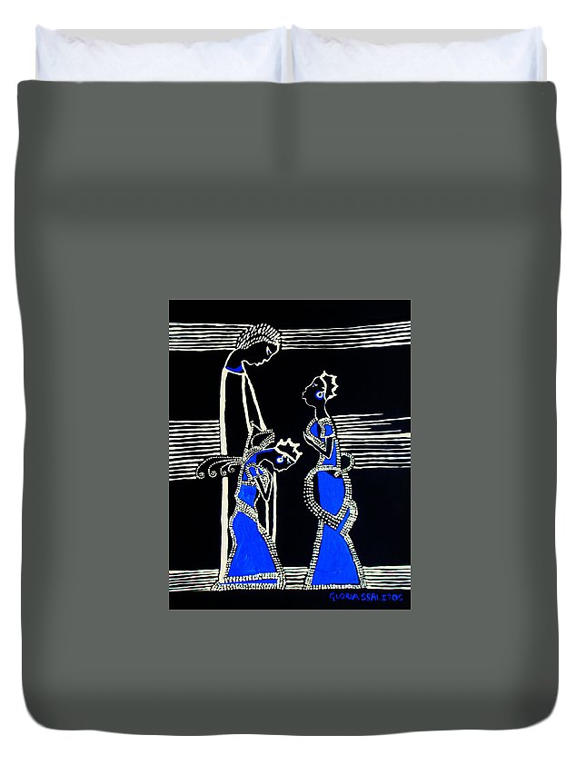 Jesus Duvet Cover featuring the painting Martha And Mary Of Bethany by Gloria Ssali