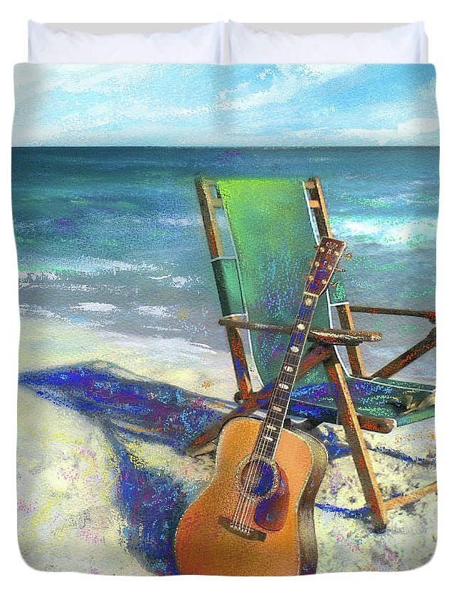 Guitar Duvet Cover featuring the painting Martin Goes To The Beach by Andrew King