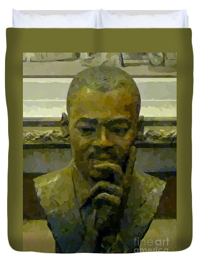 Martin Luther King Duvet Cover featuring the painting Martin Luther King by John Malone