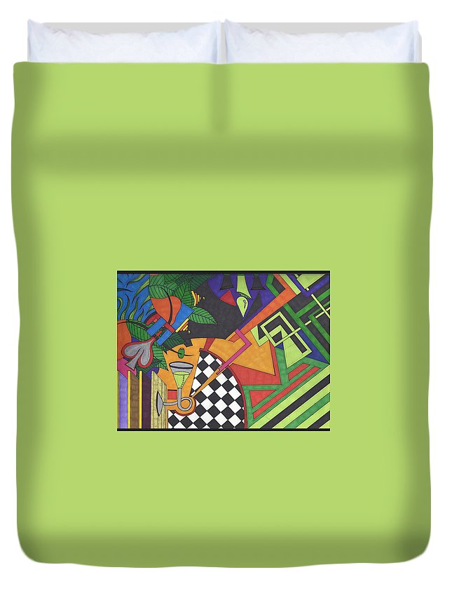 Duvet Cover featuring the drawing Poison by Johnny Huff