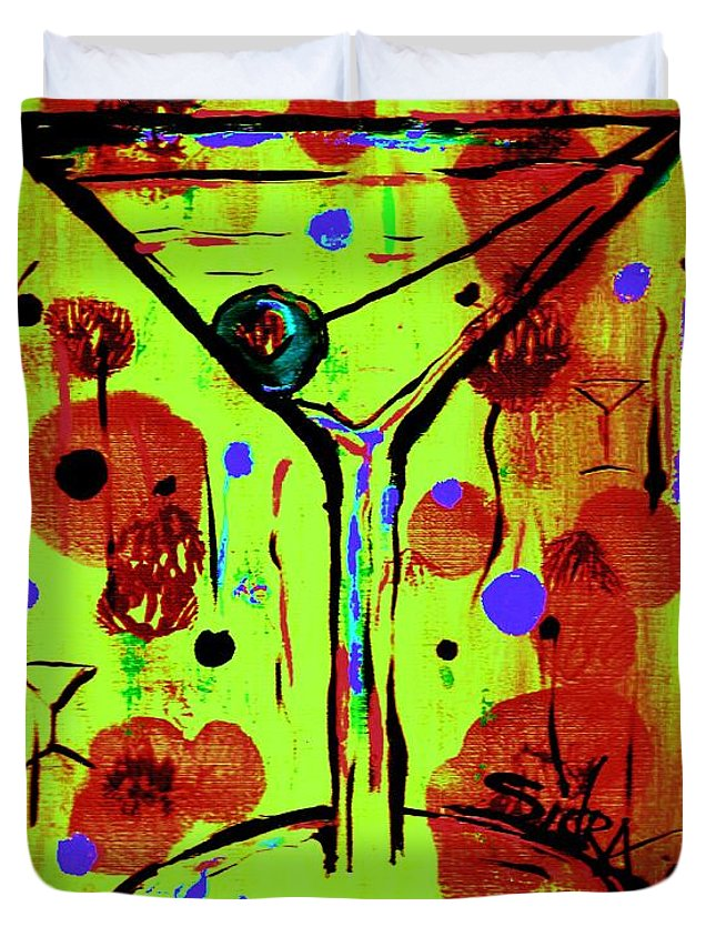 Martini Duvet Cover featuring the painting Martini Madness by Sidra Myers